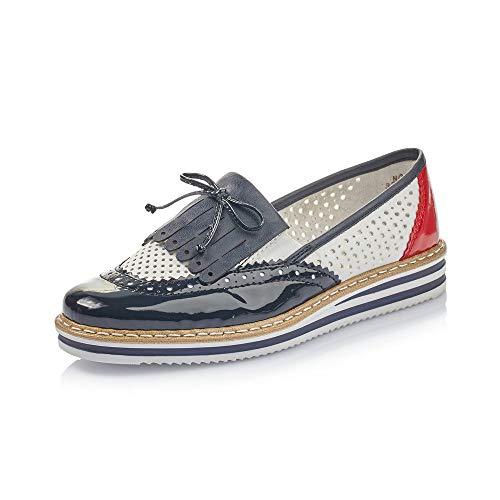 Rieker Damen SlipperMokassins N0275, Frauen Slipper, schlupfhalbschuh Slip-on College Schuh Loafer businessschuh Damen Frauen,Marine,40 EU / 6.5 UK