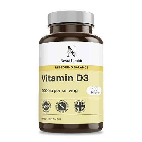 Vitamin D 4000 IU, Maximum Strength Vitamin D3 Cholecalciferol Supplement, 180 Easy-Swallow Softgels - Nesta Health Made in The UK