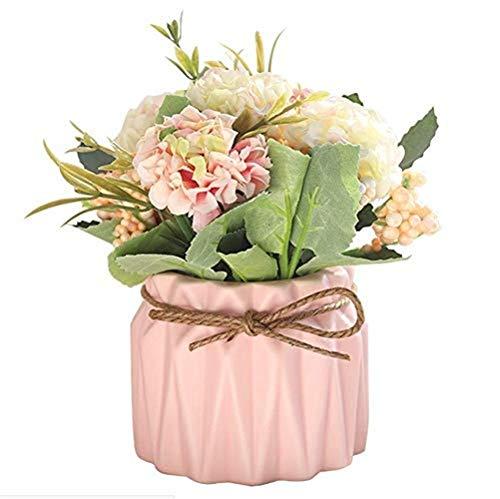 LUCKYGBY Flores Artificiales, Flores Artificiales bonsái, Flores Artificiales de Hortensia en jarrón de cerámica para decoración de Bodas, hogar, Fiestas, oficinas, mesas (C)