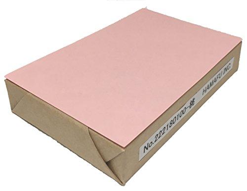 No.222-180-100 もも色両面無地ハガキ・厚手 アメリカンサイズ 色上質・超厚口 (90x140)  100枚