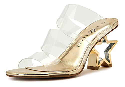 Katy Perry Damen The Star Heeled Triple Banded Clear Upper Sandale mit Absatz, farblos, 38 EU