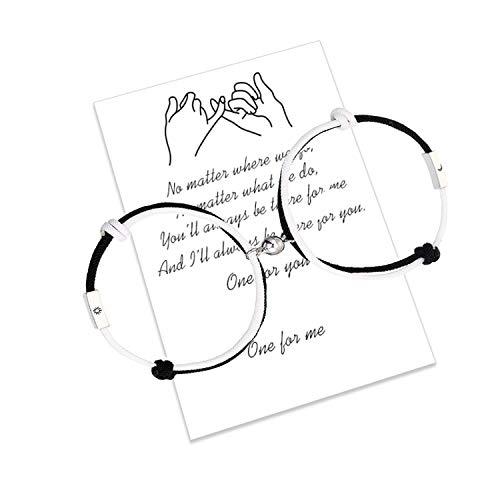 2pcs braccialetti magnetici per coppie di attrazione reciproca fatti a mano con corde intrecciate braccialetti abbinati regalo fidanzato (braccialetto magnetico bianco e nero sole-luna)