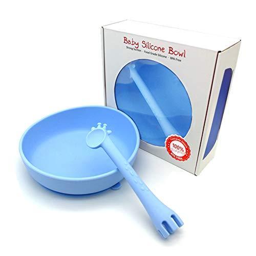 Kit dalimentation pour enfants bol daspiration et Soft Spoon Help Self Feeding Kit de sevrage pour b/éb/é Sinzau Silicone Baby Bowl /& Spoon Rose