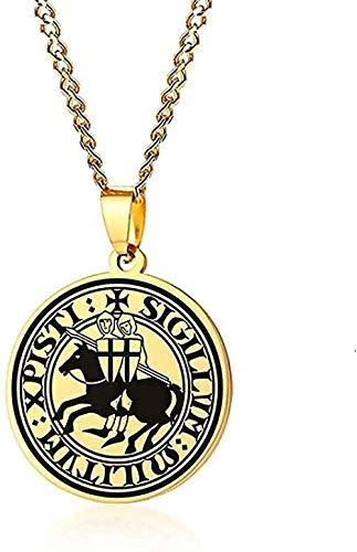 BEISUOSIBYW Co.,Ltd Collar Elegante Mujer Collar Hombres Collar Templo Sello Caballero Armas Medievales Amuleto medallón Colgante de hojalata Collares