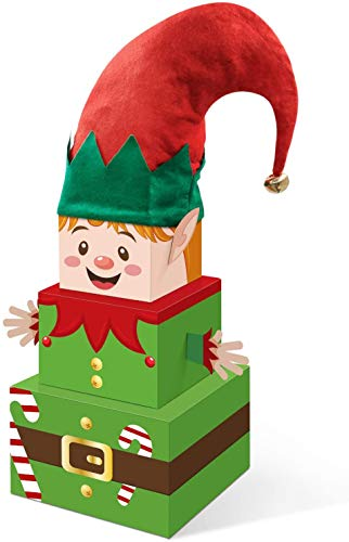 Christmas Elf Gift Boxes with Hat Xmas Holiday Tower Nesting Present Boxes for Xmas Christmas Party for Christmas Tree Home Office Table Decorations