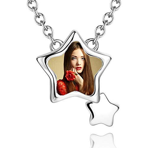 e'w'r'w'erwerwe 925 Collar De Mujer Personalizado Tallado Foto Mujer Collar Personalizado Regalo De San Valentín para Novia(Plata 18)