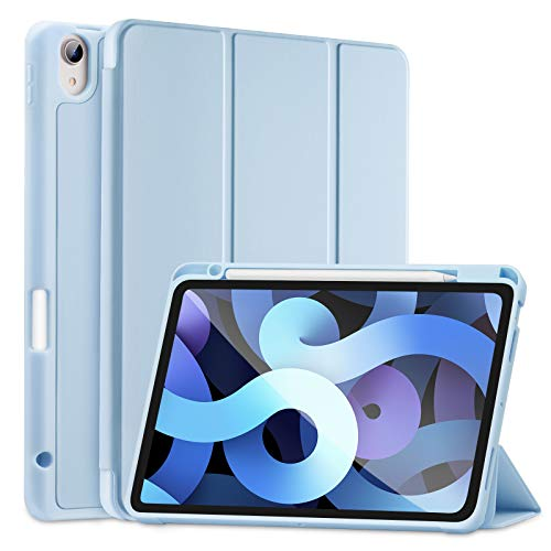 SIWENGDE Compatible for iPad Air 4 Case 2020 with Pencil Holder, iPad Air 4th Generation Case [Supports Pencil 2nd Gen Charging] Shockproof Smart Shell iPad 10.9 Inch Stand Cover (Light Blue)