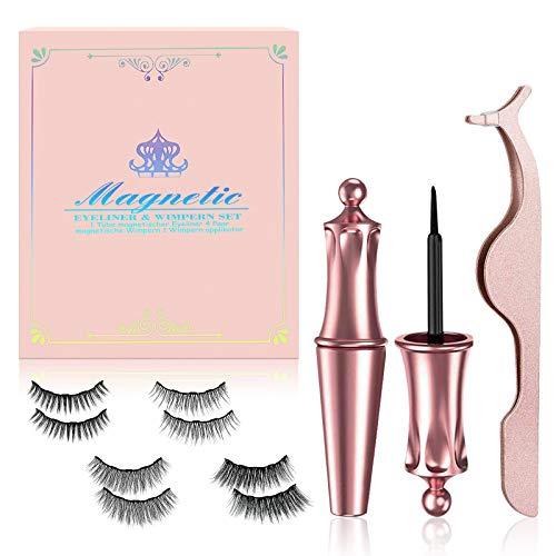 Magnetische Wimpern,Upgrade 3D Wiederverwendbare Magnet Wimpern und Magnetischer Eyeliner,Magnetische Wimpern Natürlicher Look,Wimpern Magnetisch mit Zange Wasserdicht und Einfach zu bedienen[4 Paare]
