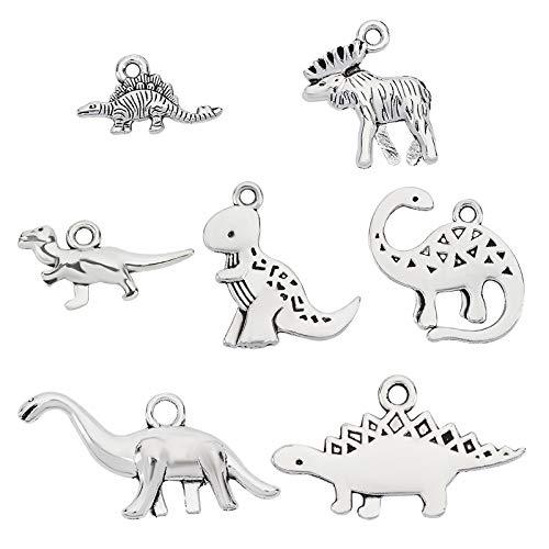 CHGCRAFT 7種類70点 恐竜 チャーム パンツ セット 可愛い 動物 合金 ペンダント アクセサリーパーツ ネックレス ピアス マスクチャーム ジュエリー用 手作り材料 ハンドメイド シルバー