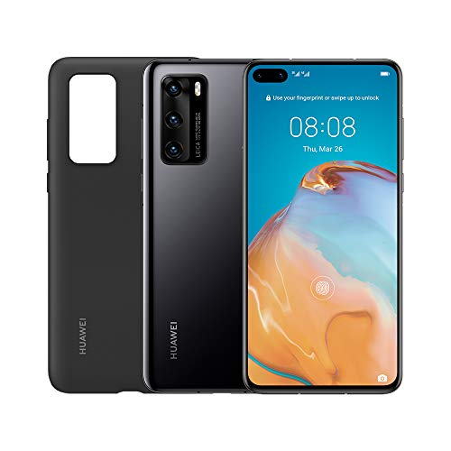 "HUAWEI P40 con Cover, Acoustic Display da 6.1"", Tripla Fotocamera Leica da 50 + 16 + 8 MP, Kirin 990 5G Octa Core, Nero, Versione Italiana"