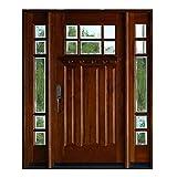 12' Sidelites and 36'X80' Mahogany Front Entry Door, 6 Lite Exterior Door Wood Outdoor, Prehung and PrefinishH (12'X36'X12'X80', Right-Hand)