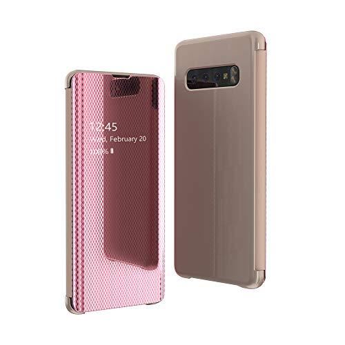 Caler Cover Compatibile Con Samsung Galaxy A50 Specchio Custodia Intelligente Smart View Cover Portafoglio Flip Silicone Trasparente Case in Pelle Bumper Folio Copertura Mirror Shell