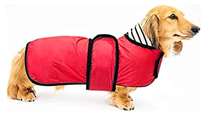 Ctomche Dachshunds Jacket with Harness,Windproof Dog Vest with Reflective Strips,Warm and Cozy Dog Sport Vest,Dog Winter Coat for Dachshunds Red-M