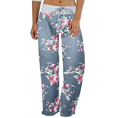 Pantalones de Pijama con cordón elástico Informal cómodo con Estampado de Leopardo Pantalones de Pierna Ancha para Mujer