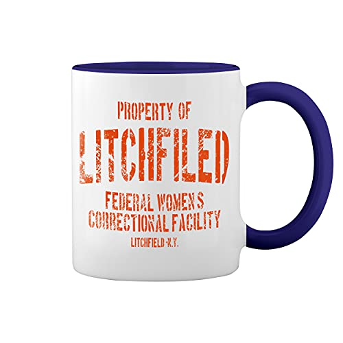Litchfield Prison Inspired Orange Is The New Black Blanca taza de caf con el borde azul y la manija Mug