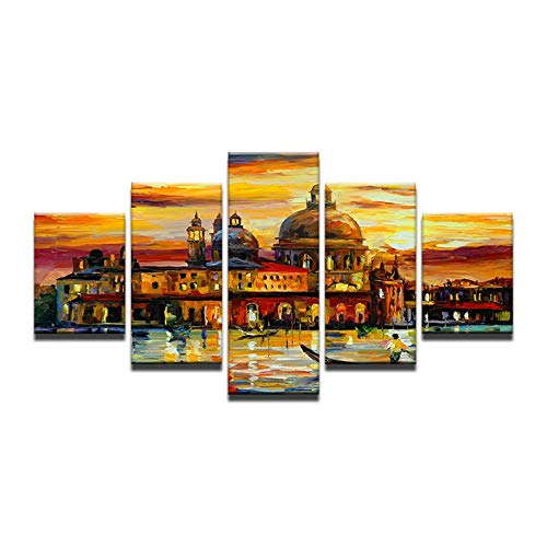 Gbwzz 5 stuks schilderijen op canvas Home Decor Canvas schilderij DIY slot abstract boot meer decoratie moderne muur pictures muur kunst olie post No Frame 10x15 10x20 10x25cm