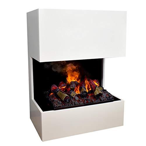 GLOW FIRE Kästner Elektrokamin Opti Myst Cassette 500 mit Holzdeck, 3D Wasserdampf Feuer, elektrischer Standkamin mit Fernbedienung, Regelbarer Flammeneffekt, 70 cm, Weiß