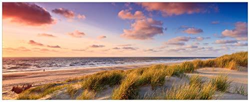 Wallario Acrylglasbild XXL Abendspaziergang am Strand - Sonnenuntergang über dem Meer - 80 x 200 cm in Premium-Qualität: Brillante Farben, freischwebende Optik