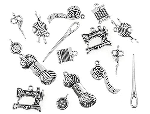 Kinteshun Sewing Charms,Scissor Pipe Yarn Clew Button Sewing Machine Knitting Charm Pendant Connector for DIY Jewelry Making Findings(16pcs,Silver)