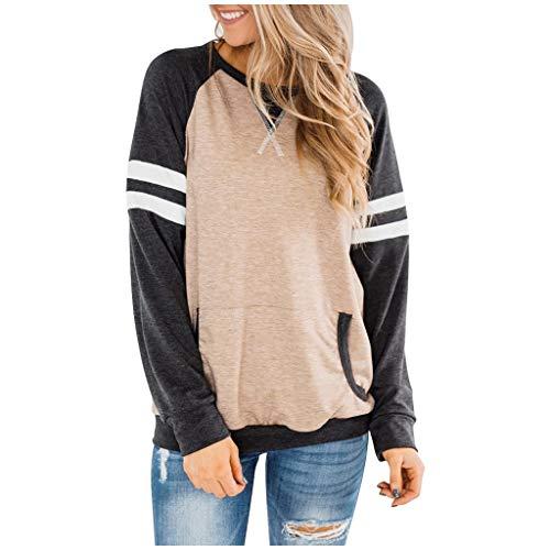UJUNAOR Women's Long-Sleeved Sweatshirt with Stripes Crew Neck Oversize Shirt Jumper Blouse Tops Casual Long Sleeve Colours Block O Neck Pockets Striped Jumper Tunic Tops - Green - XXL
