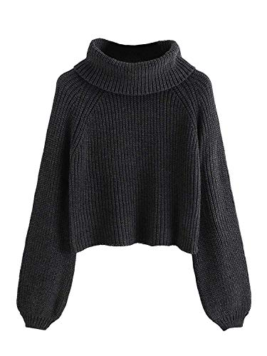 Milumia Women's Turtleneck Bishop Raglan Sleeve Jumper Pullover Sweater Crop Tops Dark Grey S