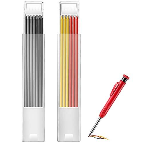 Tischler Bleistift Ersatzminen für Konstruktionen, 12 Stücke Einfarbige Bleistiftminen, 2,8 mm Tiefes Loch Mechanischer Bleistift Ersatz Graue Rote Gelbe Farbige Bleistift Ersatzminen für Markierung