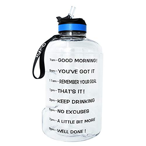 BuildLife 73OZ Motivational Water Bottle with Time Marked to Drink More Daily and NozzleBPA Free Reusable Gym Sports Outdoor Large Capacity Clear 73OZ