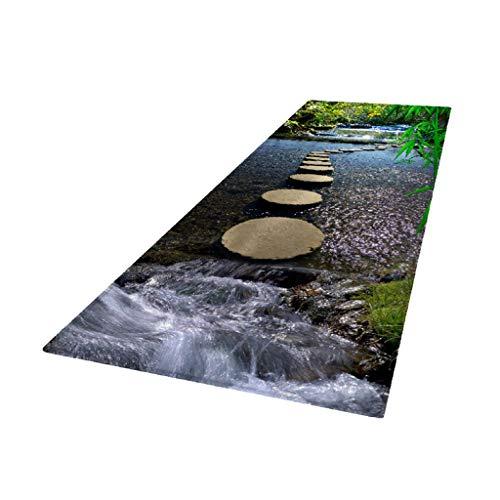 F Fityle Küchenteppich Läufer waschbar rutschfest Teppichläufer Küchenläufer für Flur, Wohnzimmer, Küche, Schlafzimmer - Fluss