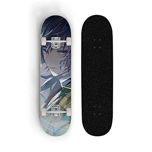 ZQHUAA Skateboard for Demon Slayer: Tomioka Giyuu, Scooter de Doble Rueda de Doble Rueda, monopatín for Principiantes, Deportes Extrema al Aire Libre, Regalo de niño y Adolescente
