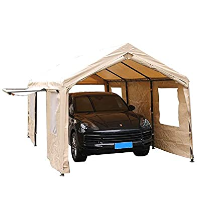 SORARA Carport 10 x 20 ft Heavy Duty Canopy Garage Car Shelter with Windows and Sidewalls