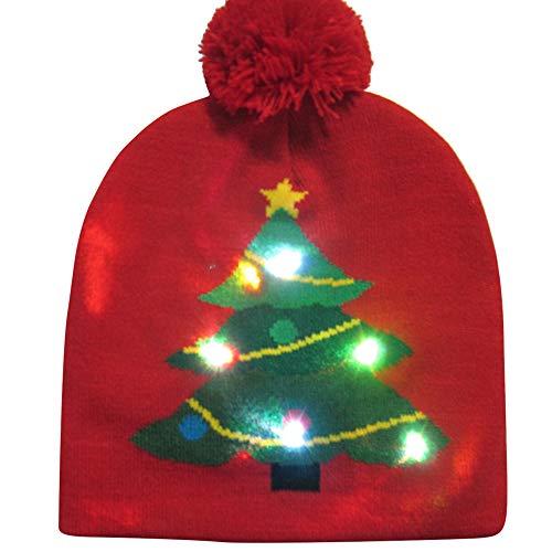 LED Weihnachtsmützen Weihnachtsmotiv Mütze Partyhut leuchtende Strickmütze Kreative Wintermütze als Geschenk für Damen und Herren Rentier Schneemann Cap