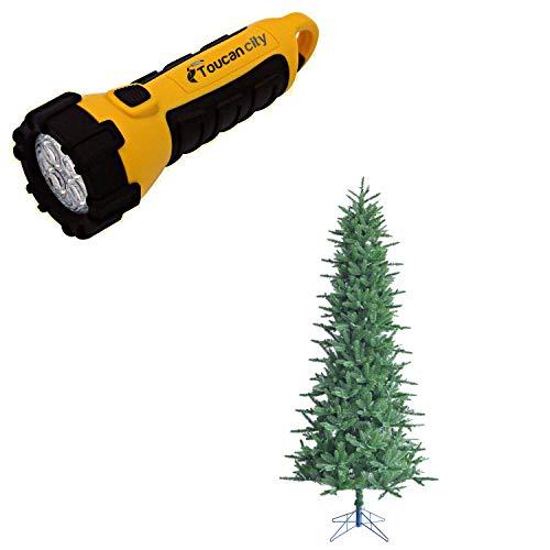 Toucan City LED Flashlight and Fraser Hill Farm 7.5 ft. Carmel Pine Slim Artificial Christmas Tree FFCP075-0GR