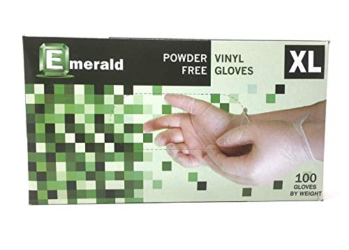 EMERALD Vinyl Powder Free Gloves Latex Free Rubber - in Stock - Disposable, Ultra-Strong, Food Handling Use, Cleaning - No Powder - Ambidextrous - Size X-Large)