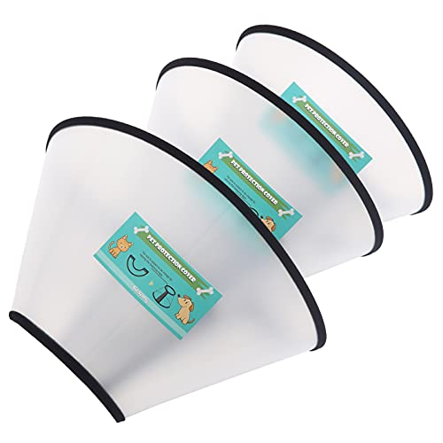 GLADOG Soft Dog Cone Collar, 3 PCS (for Right Size) Flexible Plastic Cone for Dogs After Surgery, Dog Recovery Collar, Adjustable E-Collar for Large/Medium/Small Dogs Cat, Comfy Elizabethan Collar