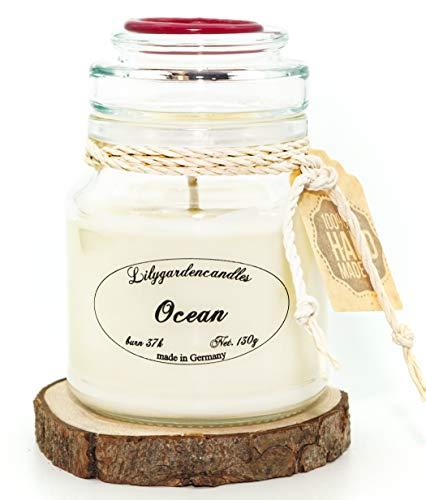 Lilygardencandles Duftkerze Ozean-Duft im Stopper Jar/ 100% Sojawachs/ 37+ Stunden Brennzeit/Pure Meeresfrische