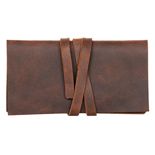 Preisvergleich Produktbild hecho. Tabakbeutel Rodrigo (Dark Wood,  Blättchenfach: 2X kurz) inkl. Gizeh Paket & Geschenkverpackung - Handgefertigt,  Leder & Fair-Trade (Tabaktasche Tabaketui)
