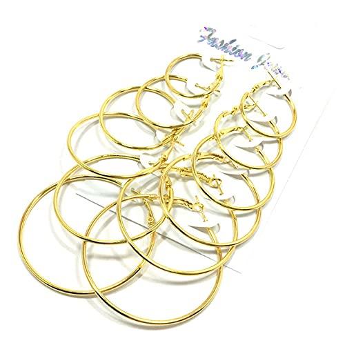 ZLHZYP arete, Boho Rose Gold Silver Color Círculo Pendientes de aro Conjuntos para mujeres Niñas Clip de oreja vintage Regalo de joyería de boda, dorado