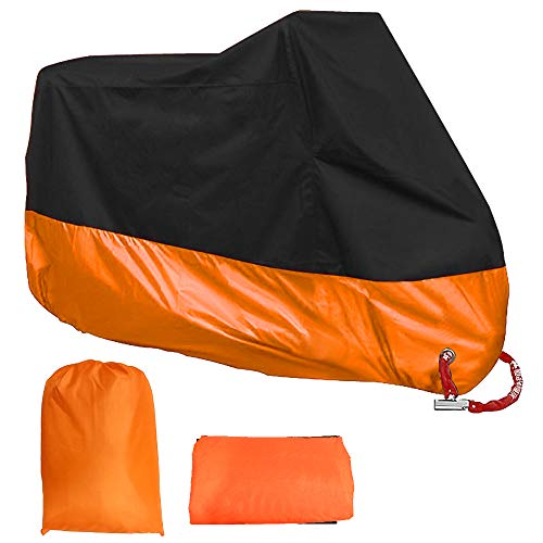 Acelane Motorcycle Cover All Season Waterproof Outdoor Dustproof Durable Vehicle Cover with Lock Holes Fits up to 116 inches for Harley Davidson Honda SuzukiYamaha and More