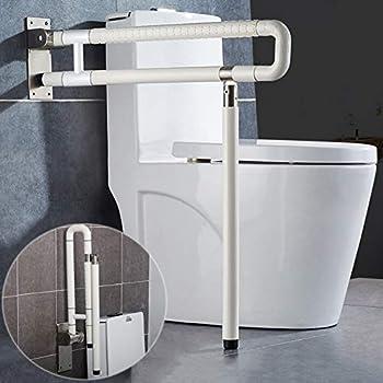 MEETWARM Handicap Rails Foldable Toilet Grab Bar Handles Bathroom Seat Support Bars Flip-Up Grab Arm Hand Grips Safety Handrails for Elderly Disabled Pregnant Anti Slip Shower Assist Aid