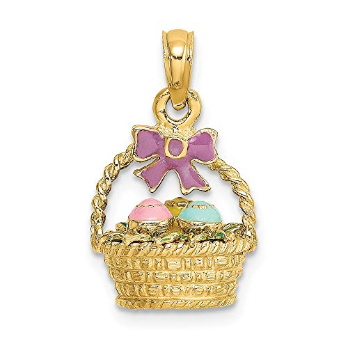 Solid 14K Yellow Gold 3-D Enameled Easter Basket Bow and Eggs Pendant