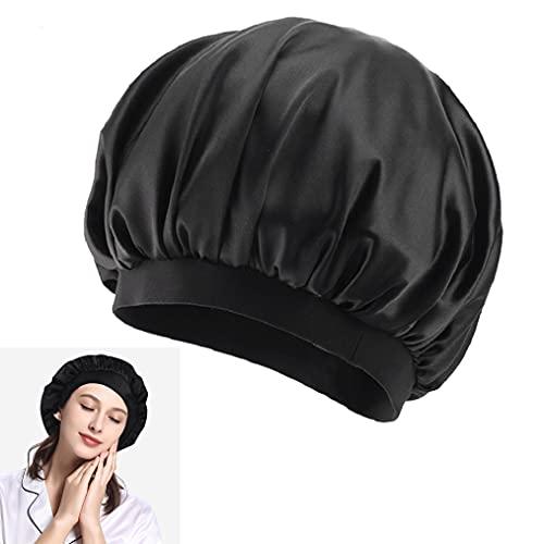 Bonnet de Nuit, Bonnet de Sommeil Bonnet de Douche en Satin à Large Band Élastique et Impermeablepour Femmes Filles (Noir)