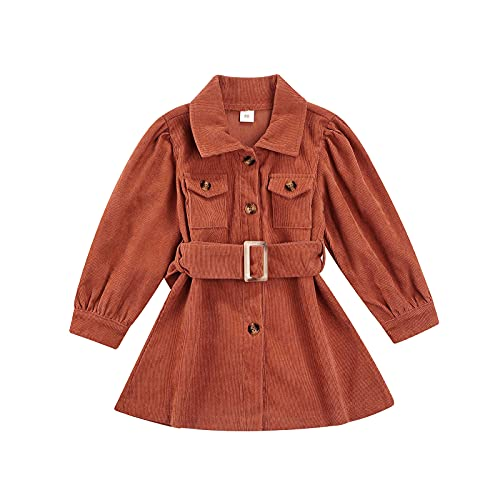 sdghg Toddler Kids Baby Girl Dress Corduroy Puff Long Sleeve Button Dress with Belt Fall Winter Clothes (Brown, 5-6 Years)