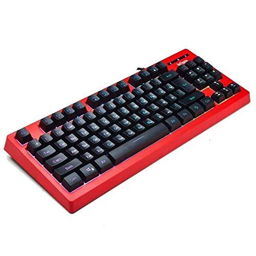 Teclado para juegos con teclado retroiluminado para computadora con cable 87 teclas...