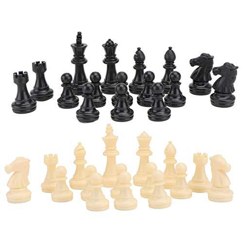 NUOBESTY 32 st internationella schackdelar magnetiska schackdelar i plast för utbyte av saknade delar, tillbehör till brädspel, 64 mm