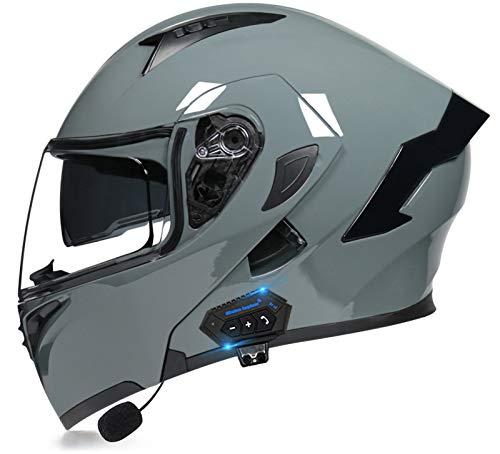 TKTTBD Casco De Moto Modular Bluetooth Integrado con Un Micrófono Incorporado Anti Niebla Visera Doble ECE/Dot Homologado Adultos Hombres Mujeres Cascos Moto 6,M(55~56cm)