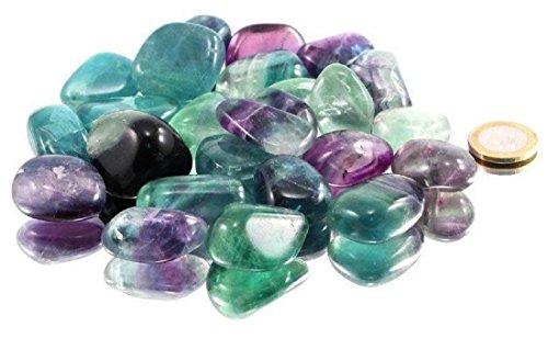 100 g Fluorit Trommelsteine, A Qualität, 2 bis 3,5 cm / Regenbogen Fluorit grün violett