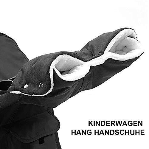 Handwärmer, kinderwagen handschuhe, Handmuff Muff mit Fleece, wasser- und windabweisend, warmen Innenfutter Anti-freeze Dick Handmuff für Kinderwagen/Buggy/Radanhänger (Schwarz)