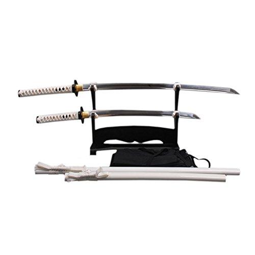 YJ COOL Battle Ready Real Samurai Swords Set 2 Katana + Wakizashi High Carbon Steel Blade White