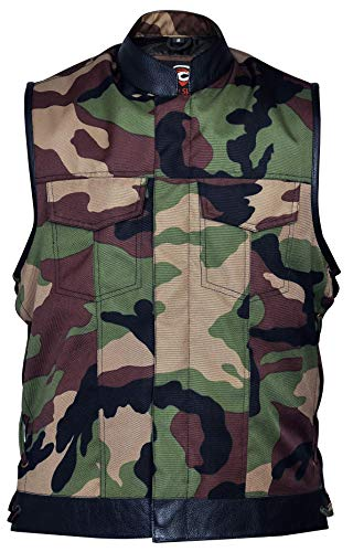 Military Print Camouflage Camo Cut Off Leather Lace Motorcycle Vest (3XL)