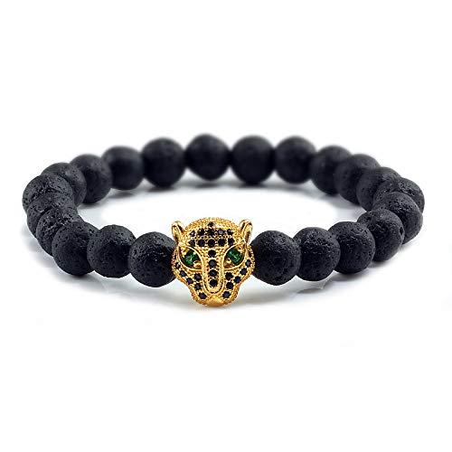 GROPC Bracciali da in Pietre Naturali,Braccialetti di Perline di Lava Nera 8Mm Braccialetti con Testa di Leopardo Dorato in Pietra Naturale Braccialetti Elastici di Yoga con personalità di Preghiera